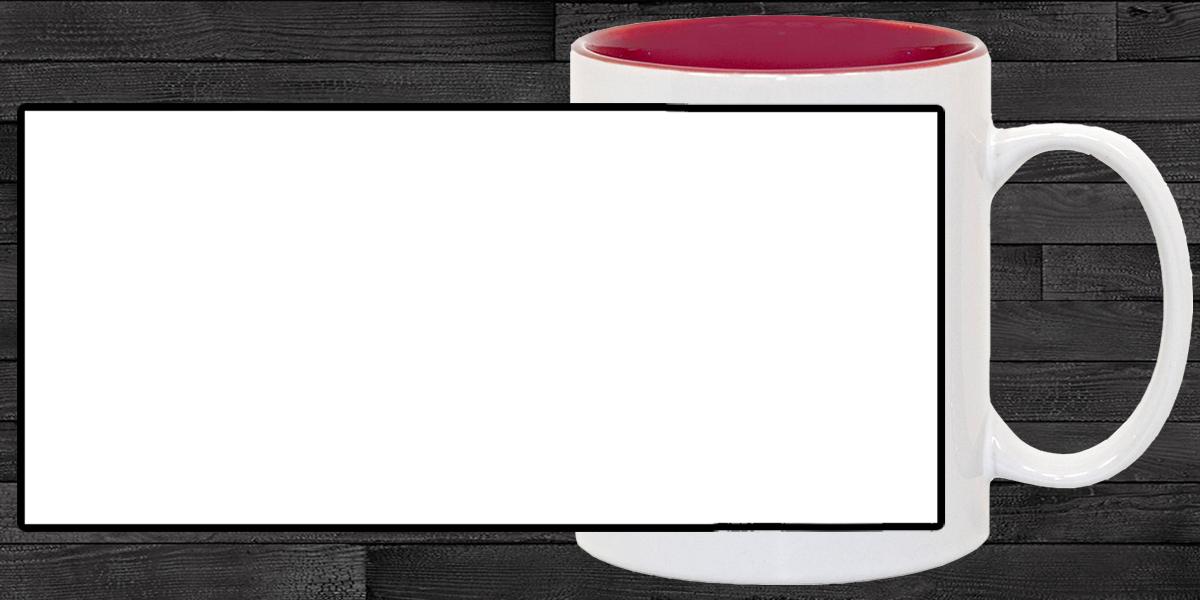 Кружка белая, темно-красная внутри (можно редактировать!)