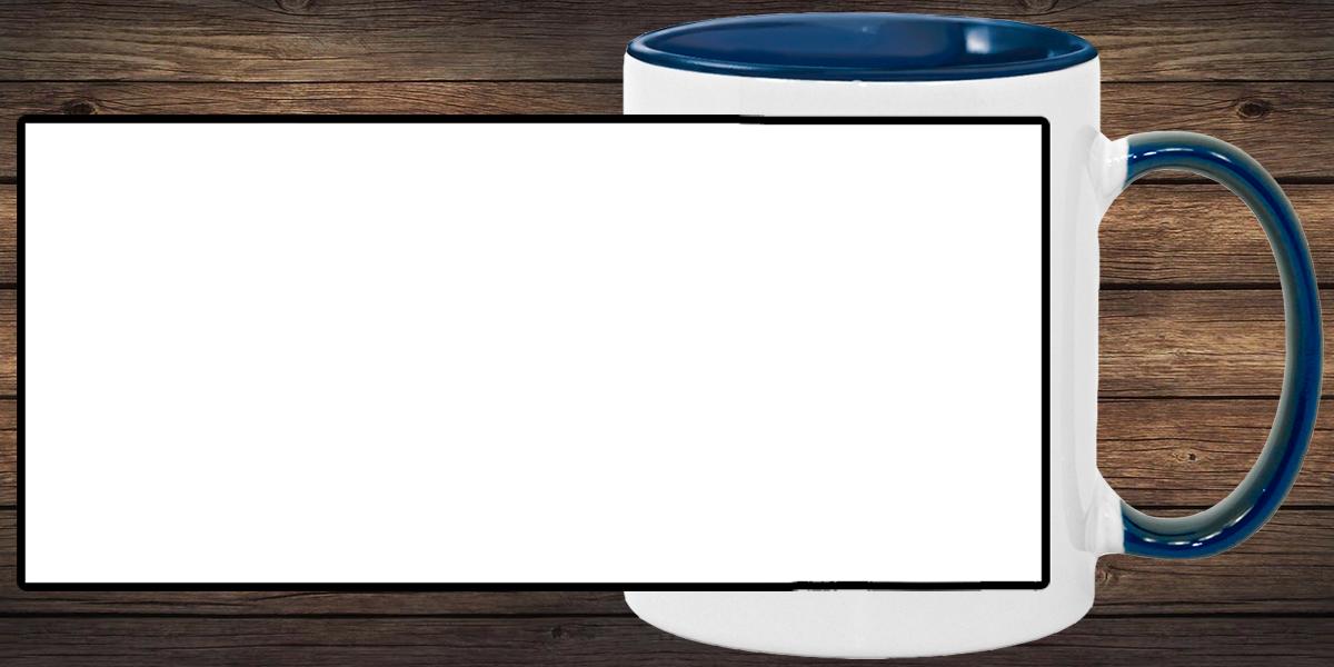 Кружка белая, темно-синяя внутри и ручка (можно редактировать!)