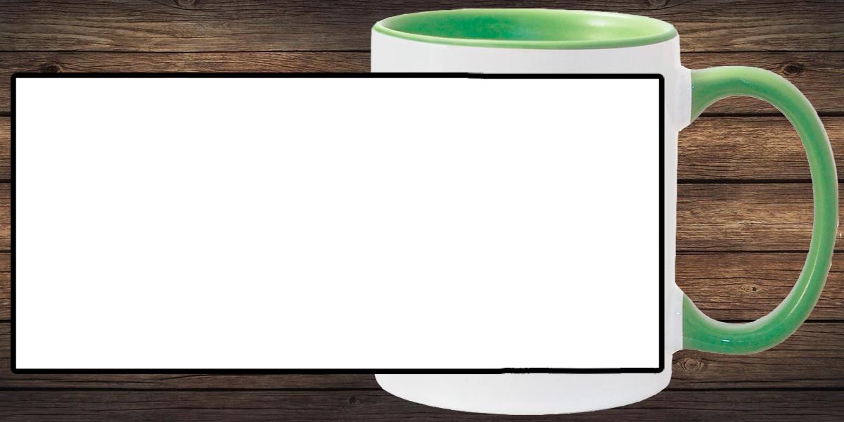 Кружка белая, светло-зеленая внутри и ручка (можно редактировать!)