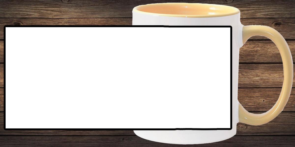 Кружка белая, жёлтая внутри и ручка (можно редактировать!)