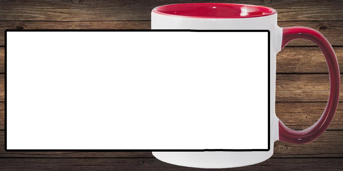 Кружка белая, темно-красная внутри и ручка (можно редактировать!)