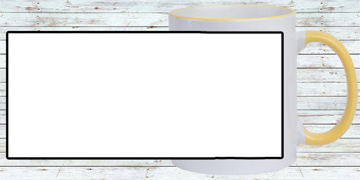 Кружка белая, со светло-жёлтыми ручкой и ободком (можно редактировать!)