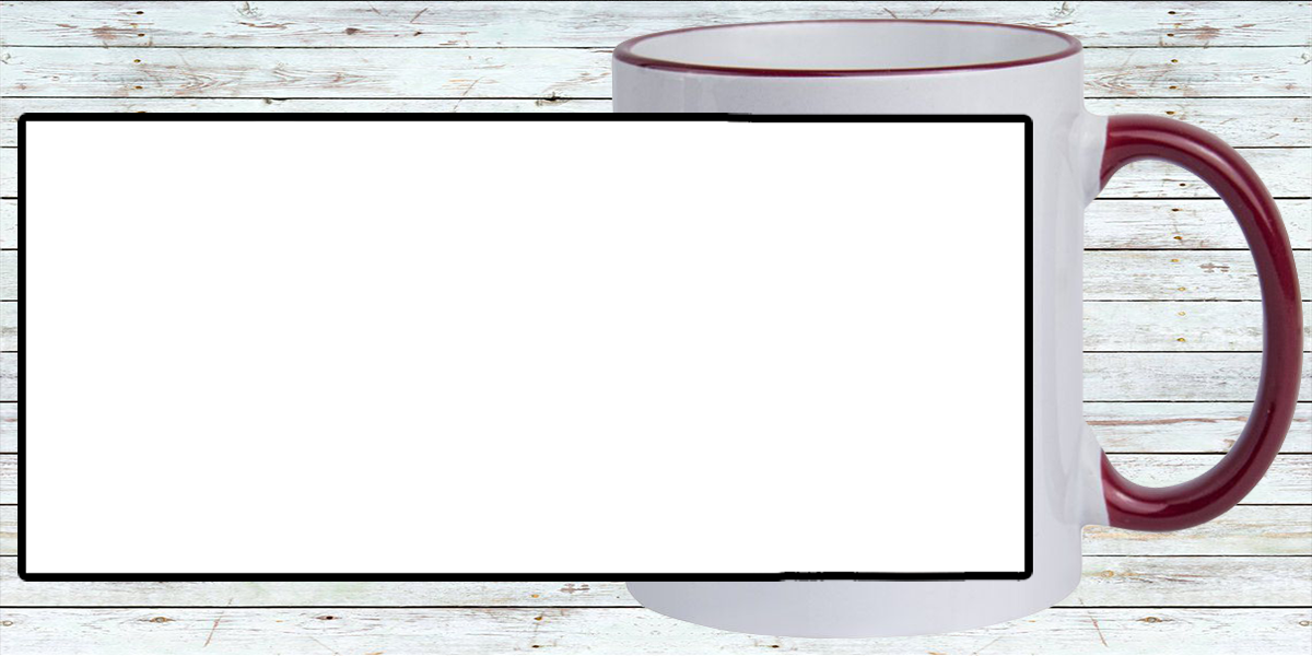Кружка белая, с темно-красной ручкой и ободком (можно редактировать!)