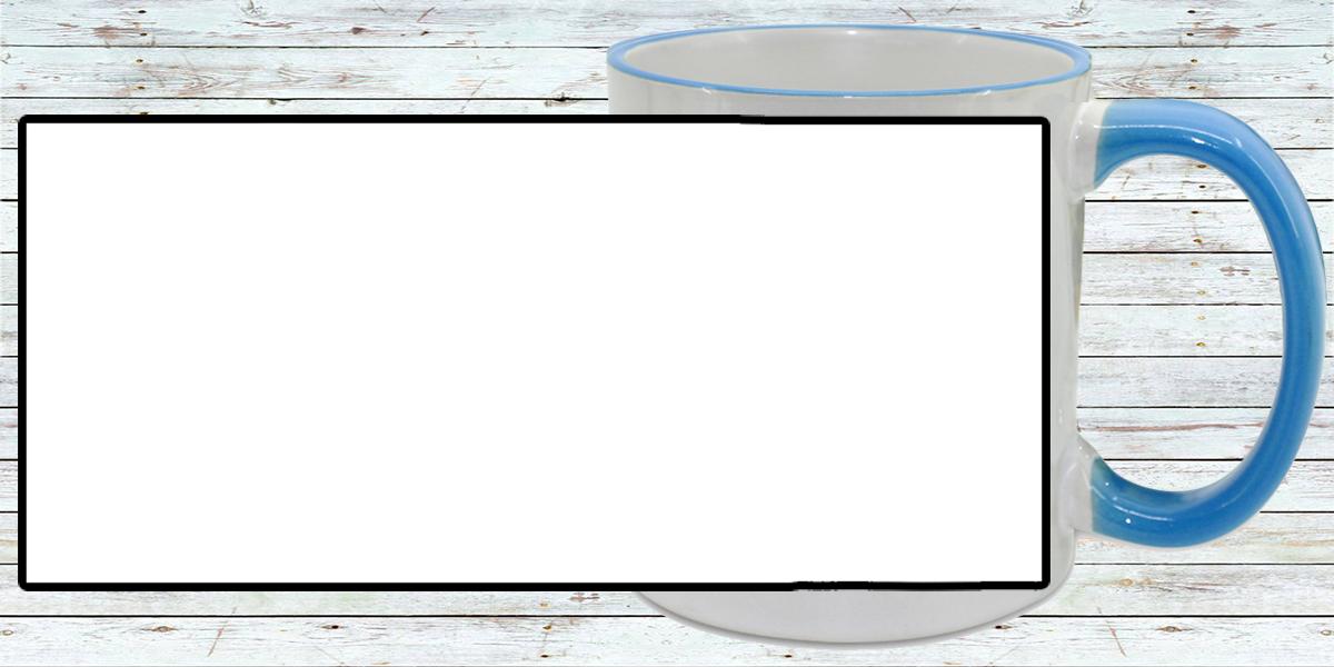 Кружка белая, со светло-синей ручкой и ободком (можно редактировать!)