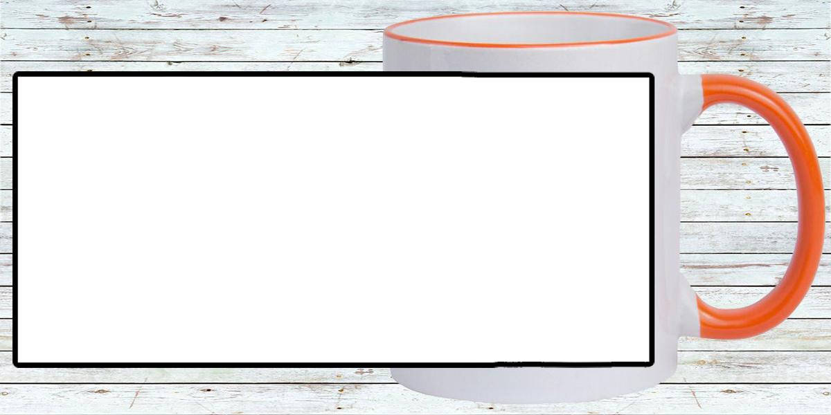 Кружка белая, оранжевая ручка и ободок (можно редактировать!)